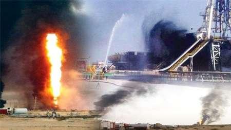 آتش سوزی در یک چاه نفت در شمال کویت