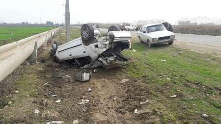 واژگونی پژو پارس در پارس آباد دو نفر را راهی بیمارستان کرد