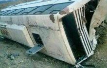 تصادف شدید اتوبوس با کامیون و چپ شدن اتوبوس در محور میاندوآب به بناب