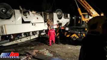 واژگونی مرگبار اتوبوس در ورودی مشهد