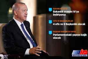 اردوغان وزارتخانه های ترکیه را کاهش می دهد