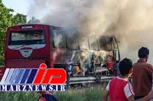 آتش سوزی اتوبوس اسکانیا در بجنورد