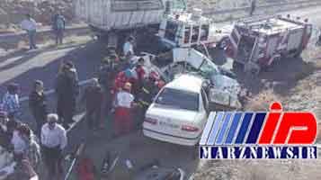 14 کشته و زخمی بر اثر برخورد اتوبوس با پراید و سمند