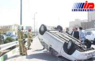 وزش باد در گیلان چند خودرو را واژگون کرد