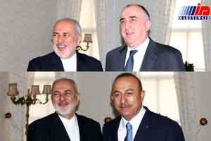 ظریف با همتایان ترک و آذربایجانی خود دیدار کرد