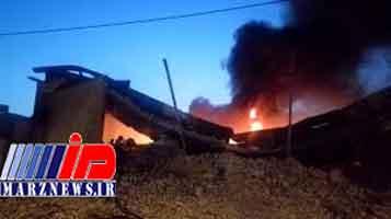 آتشسوزی در انبار لوازم بهداشتی در جاده جیرده - رشت