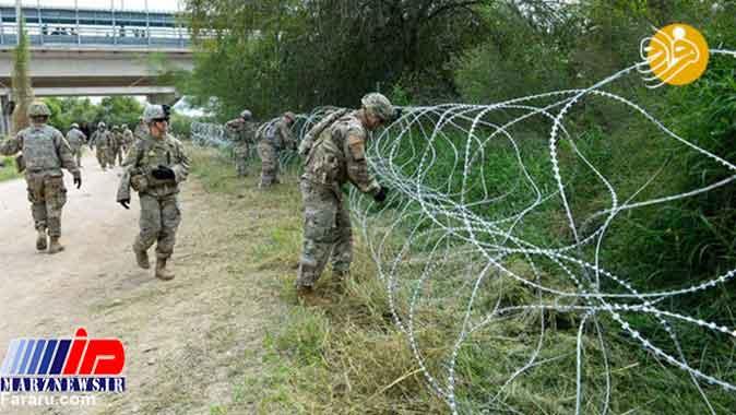 کشیدن سیم خاردار در مرز آمریکا و مکزیک