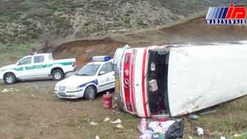 ۱۴ مصدوم بهدنبال واژگونی مینیبوس در شهرستان کلیبر