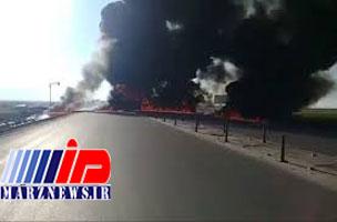 کرمانشاه؛ انفجار تانکر نفت در جاده حمیل
