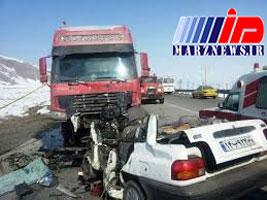 زنده زنده سوختن ۳ مسافر در ماشین مچاله شده +عکس