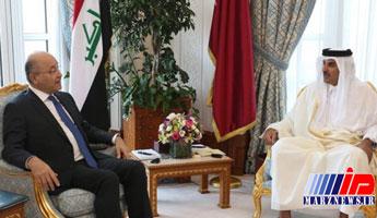 تأکید رئیس جمهور عراق و امیر قطر بر لزوم تحکیم روابط دوجانبه