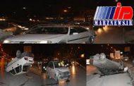 تصادف زنجیرهای در کرمانشاه با واژگونی ۳ خودرو