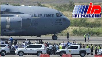 هواپیمای کمکهای آمریکا در مرز ونزوئلا نشست