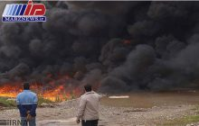 خط انتقال نفت امیدیه _ اهواز دچار آتش سوزی شد
